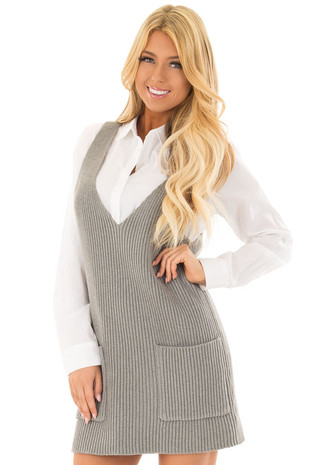 Heather Grey V Neck Sweater Dress with Front Pockets front close up