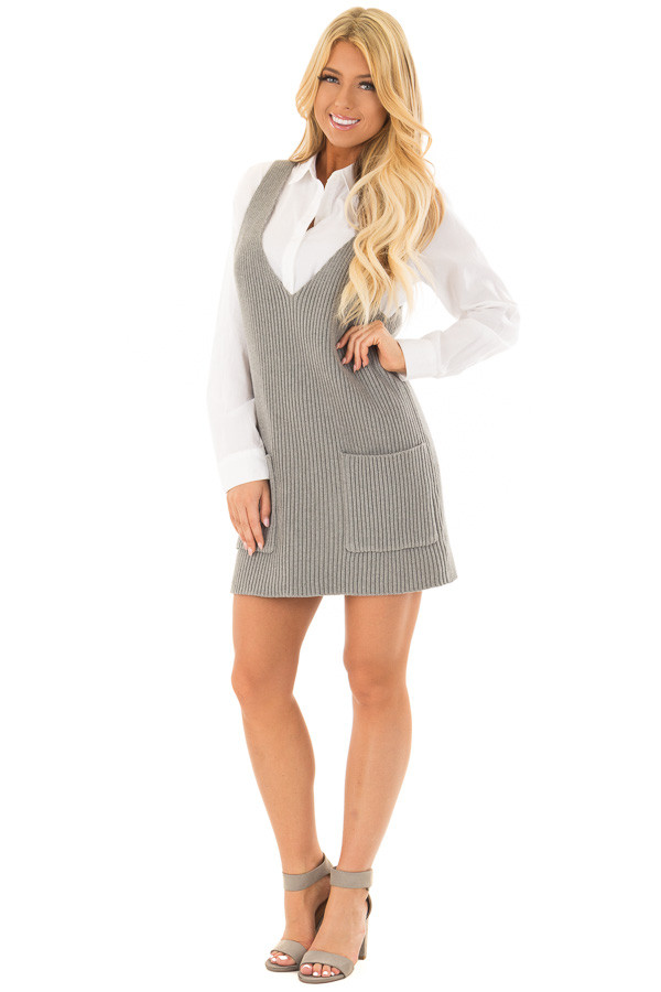 Heather Grey V Neck Sweater Dress with Front Pockets front full body