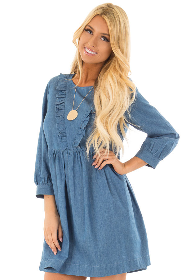 Chambray Long Sleeve Dress with Ruffle Detail front close up