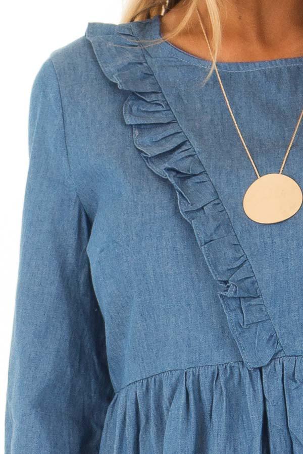 Chambray Long Sleeve Dress with Ruffle Detail detail