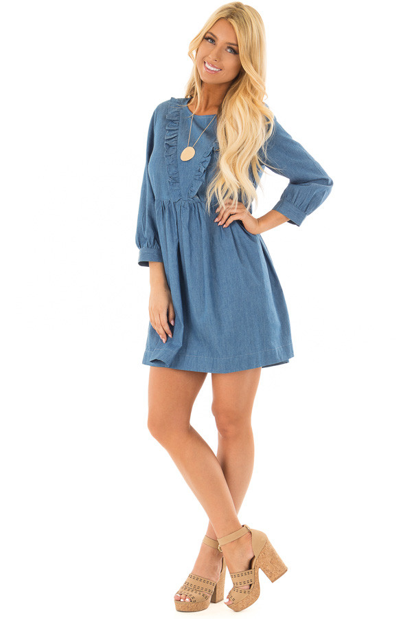 Chambray Long Sleeve Dress with Ruffle Detail front full body