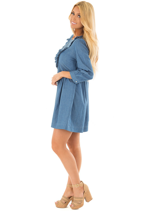 Chambray Long Sleeve Dress with Ruffle Detail side full body