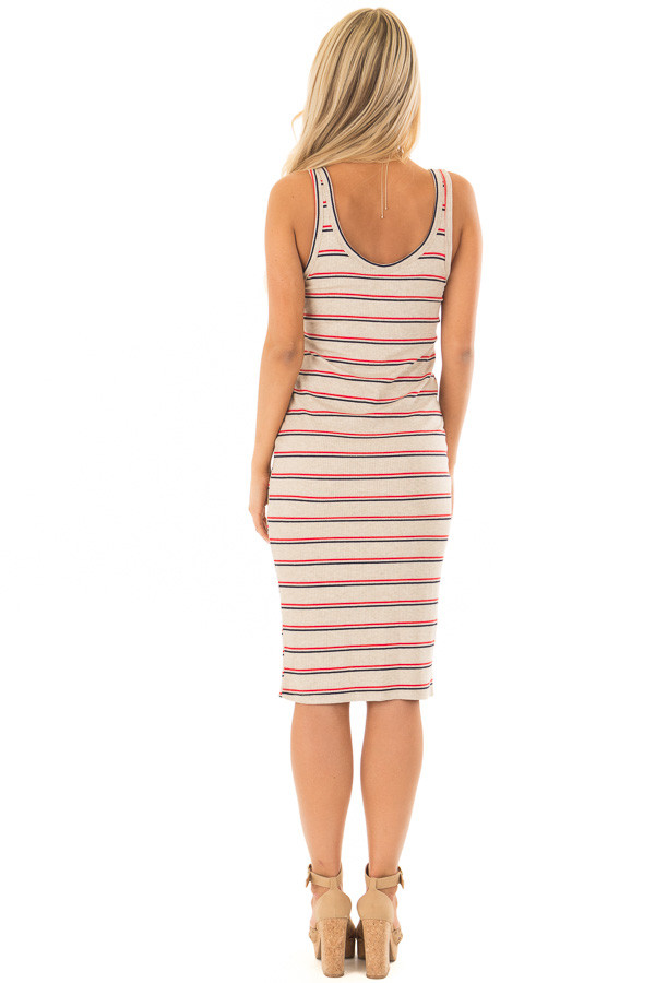 Oatmeal Red and Navy Striped Fitted Dress back full body