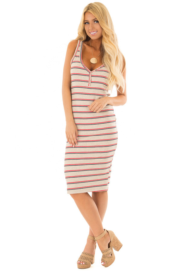 Oatmeal Red and Navy Striped Fitted Dress front full body
