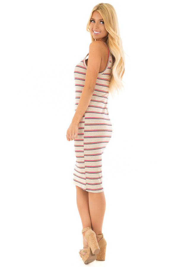 Oatmeal Red and Navy Striped Fitted Dress side full body