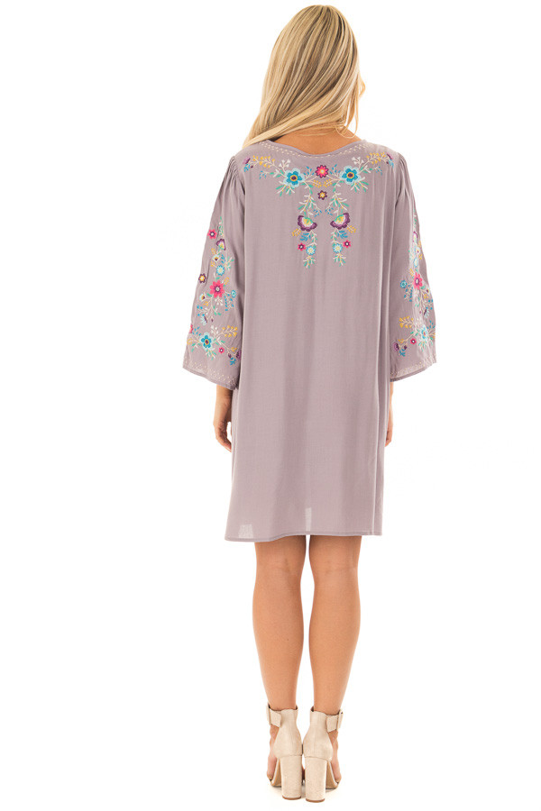 Cool Grey Floral Embroidered Dress with Tassel Tie Neckline back full body