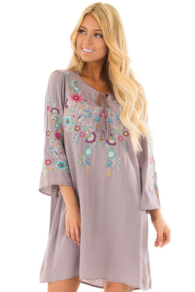 Cool Grey Floral Embroidered Dress with Tassel Tie Neckline front close up