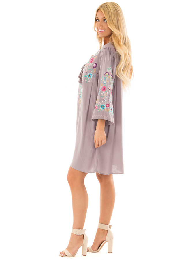 Cool Grey Floral Embroidered Dress with Tassel Tie Neckline side full body