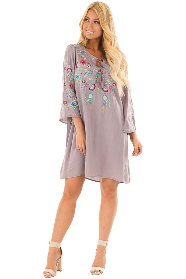 Cool Grey Floral Embroidered Dress with Tassel Tie Neckline front full body