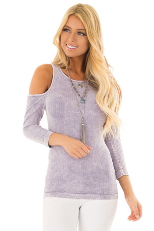 Vintage Ultra Violet  Ribbed Knit Cold Shoulder Comfy Top front close up