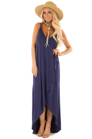 Navy High Low Dress with Criss Cross Strap Back front full body