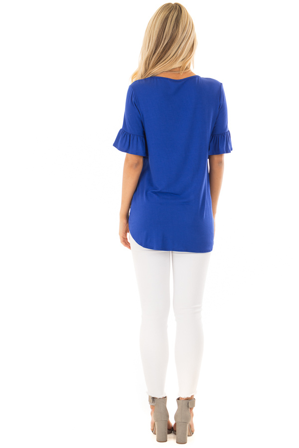 Royal Blue Short Sleeve Ruffle Top with Front Tie Detail back full body