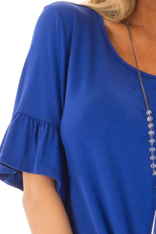 Royal Blue Short Sleeve Ruffle Top with Front Tie Detail detail