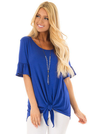 Royal Blue Short Sleeve Ruffle Top with Front Tie Detail front close up