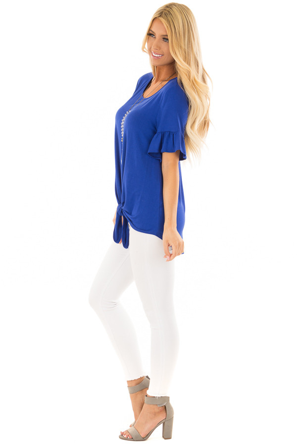 Royal Blue Short Sleeve Ruffle Top with Front Tie Detail side full body