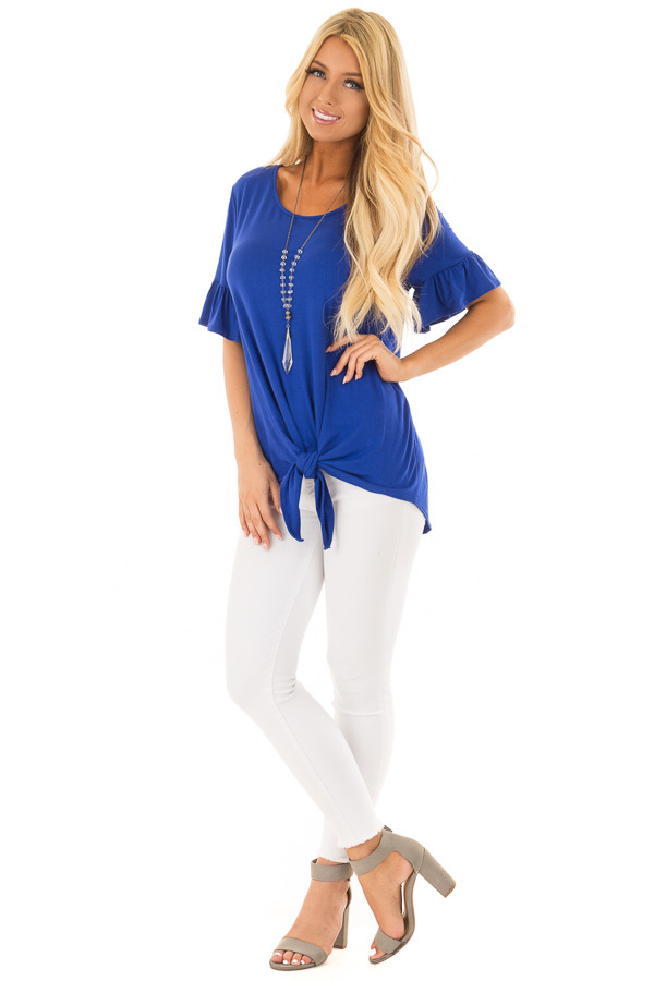 Royal Blue Short Sleeve Ruffle Top with Front Tie Detail front full body