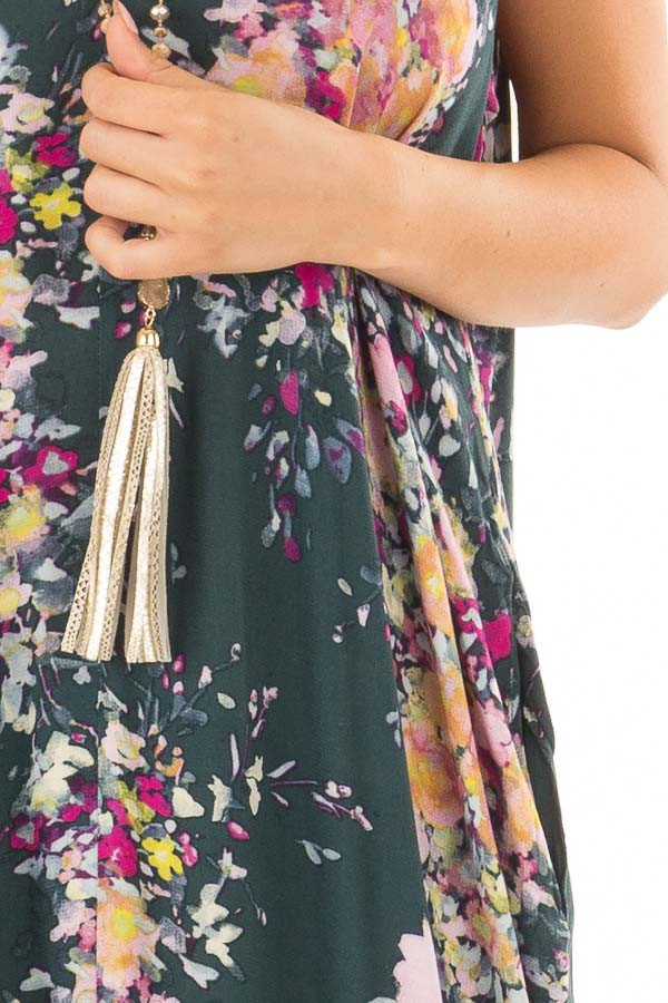 Forest Green Floral Sleeveless Cocoon Maxi Dress detail