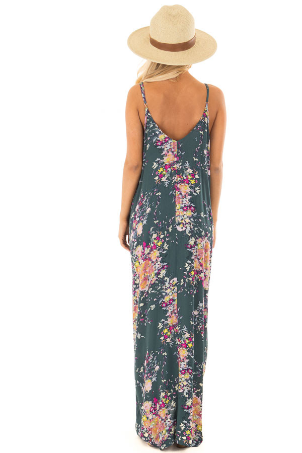 Forest Green Floral Sleeveless Cocoon Maxi Dress back full body