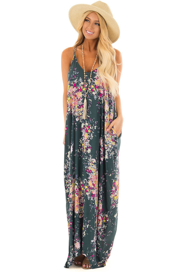 Forest Green Floral Sleeveless Cocoon Maxi Dress front full body