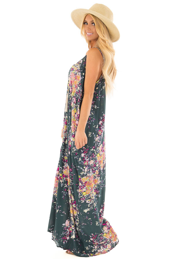 Forest Green Floral Sleeveless Cocoon Maxi Dress side full body