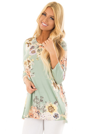 Mint Floral Print 3/4 Sleeve Top front close up
