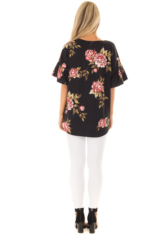 Black Floral Short Sleeve Ruffle Top with Front Tie Detail back full body