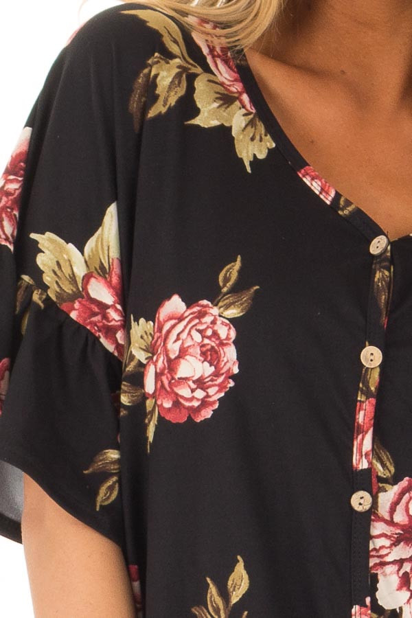 Black Floral Short Sleeve Ruffle Top with Front Tie Detail detail