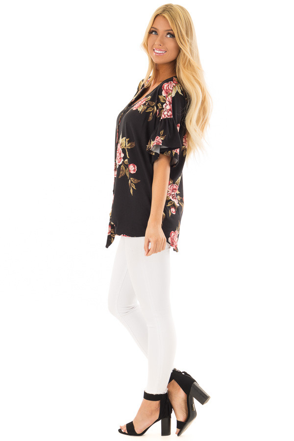Black Floral Short Sleeve Ruffle Top with Front Tie Detail side full body