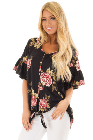 Black Floral Short Sleeve Ruffle Top with Front Tie Detail front full body