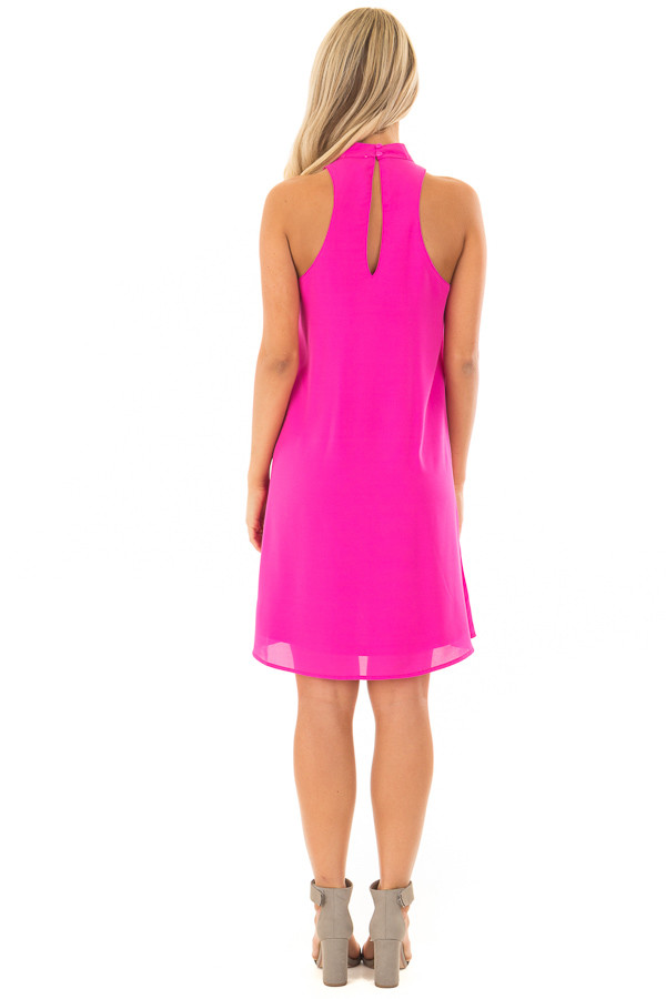 Magenta Swing Dress with Cut Out Neckline back full body