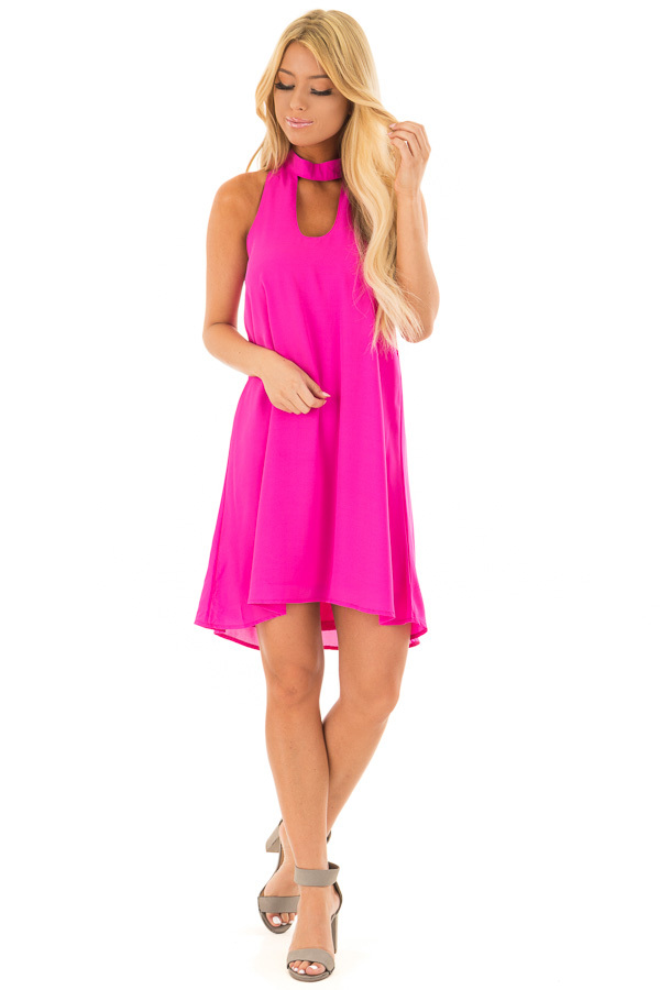 Magenta Swing Dress with Cut Out Neckline front full body