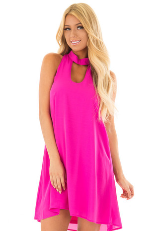 Magenta Swing Dress with Cut Out Neckline front close up