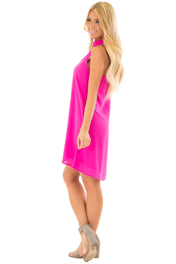 Magenta Swing Dress with Cut Out Neckline side full body