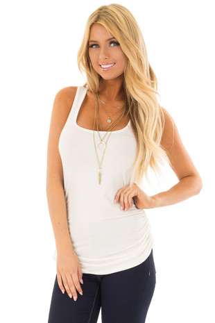 Ivory Tank Top with Ruched Sides front close up