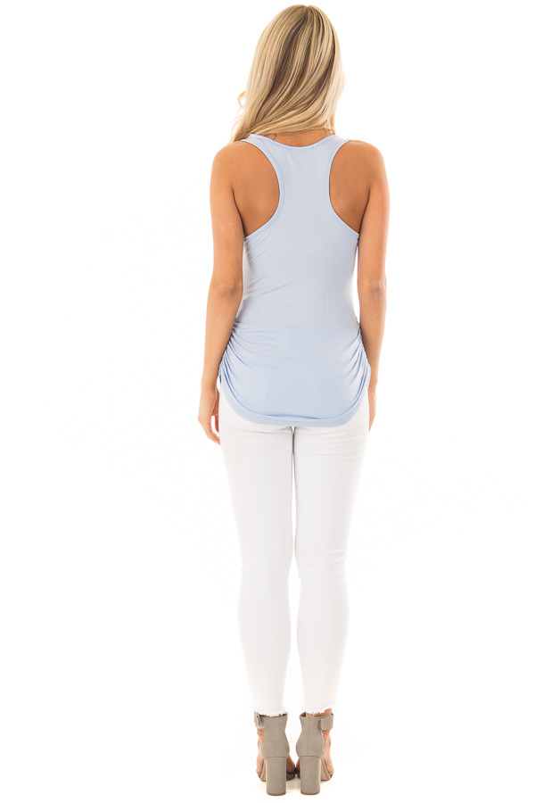 Baby Blue Tank Top with Ruched Sides back full body