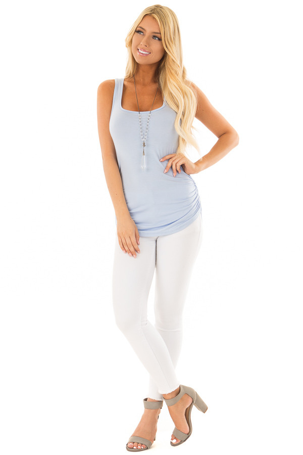 Baby Blue Tank Top with Ruched Sides front full body