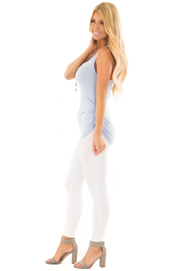 Baby Blue Tank Top with Ruched Sides side full body