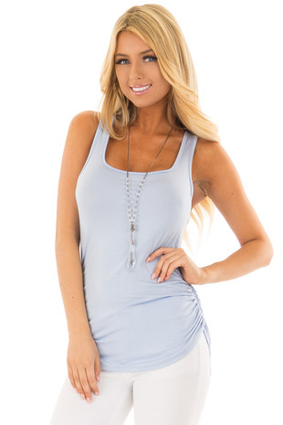 Baby Blue Tank Top with Ruched Sides front close up