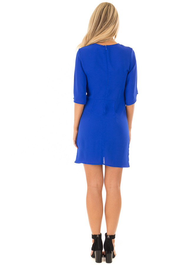Royal Blue Wrap Style Dress with Waist Tie back full body