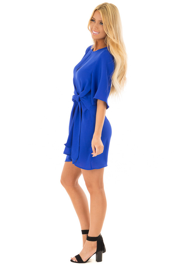 Royal Blue Wrap Style Dress with Waist Tie side full body