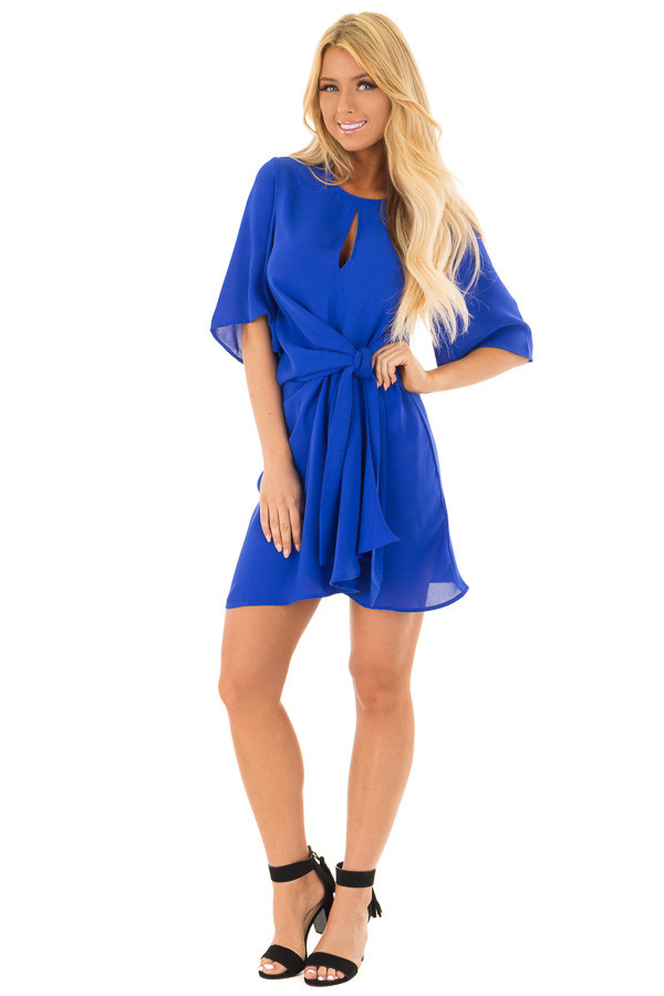 Royal Blue Wrap Style Dress with Waist Tie front full body