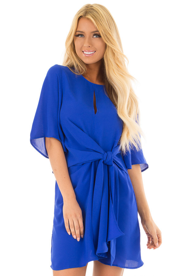 Royal Blue Wrap Style Dress with Waist Tie front close up