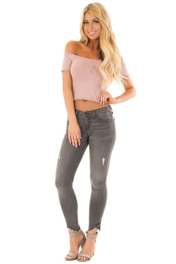 Dusty Rose Off the Shoulder Short Sleeve Crop Top front full body