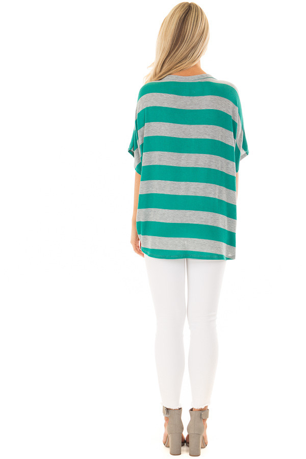 Kelly Green and Grey Striped Top with Front Tie back full body