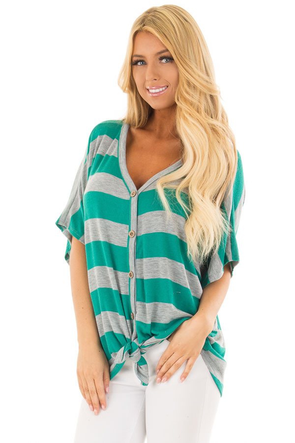 Kelly Green and Grey Striped Top with Front Tie front close up