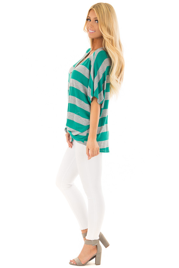 Kelly Green and Grey Striped Top with Front Tie side full body