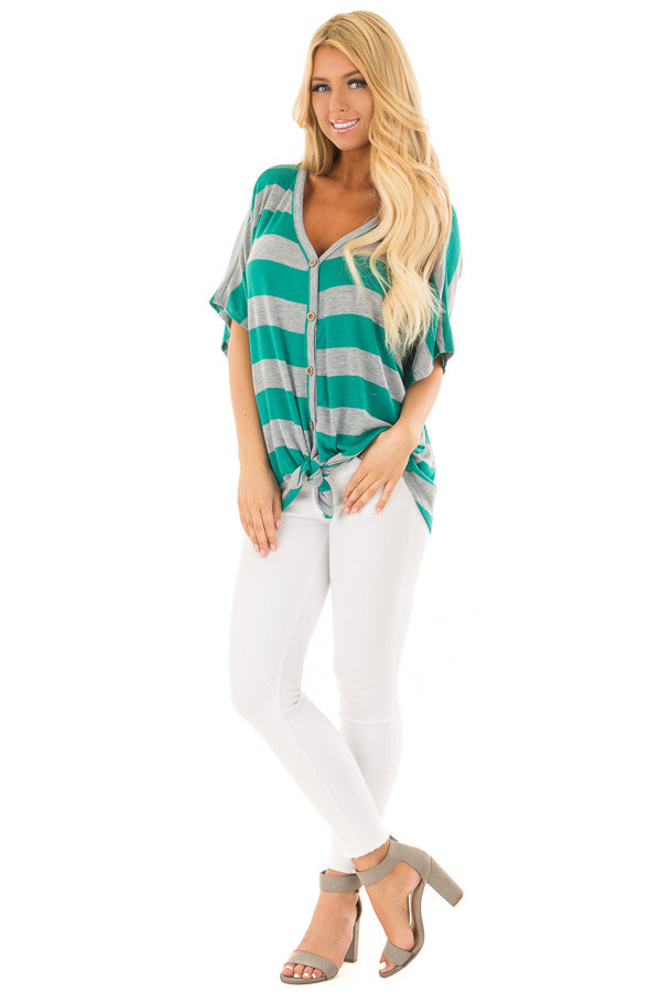 Kelly Green and Grey Striped Top with Front Tie front full body