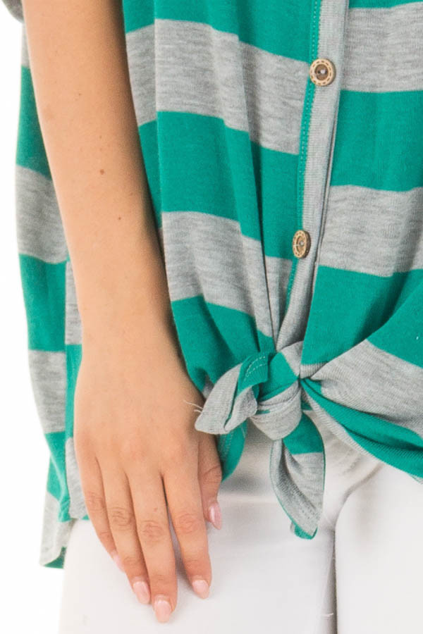 Kelly Green and Grey Striped Top with Front Tie detail