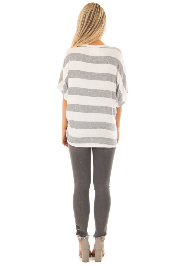 Ivory and Grey Striped Top with Front Tie back full body
