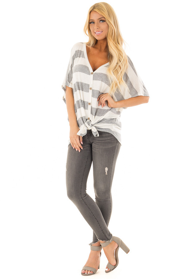 Ivory and Grey Striped Top with Front Tie front full body